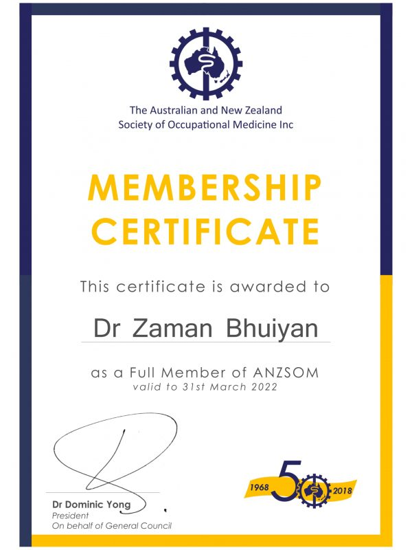 ANZSOM Membership certificate Dr Zaman Bhuiyan - full 2021-1